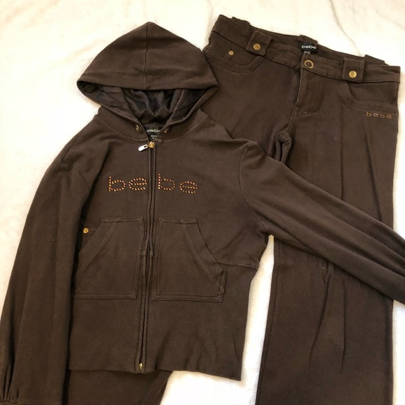 9588fa8203a bebe Other | Brown Sweatsuit With Rhinestone Accents | Poshmark